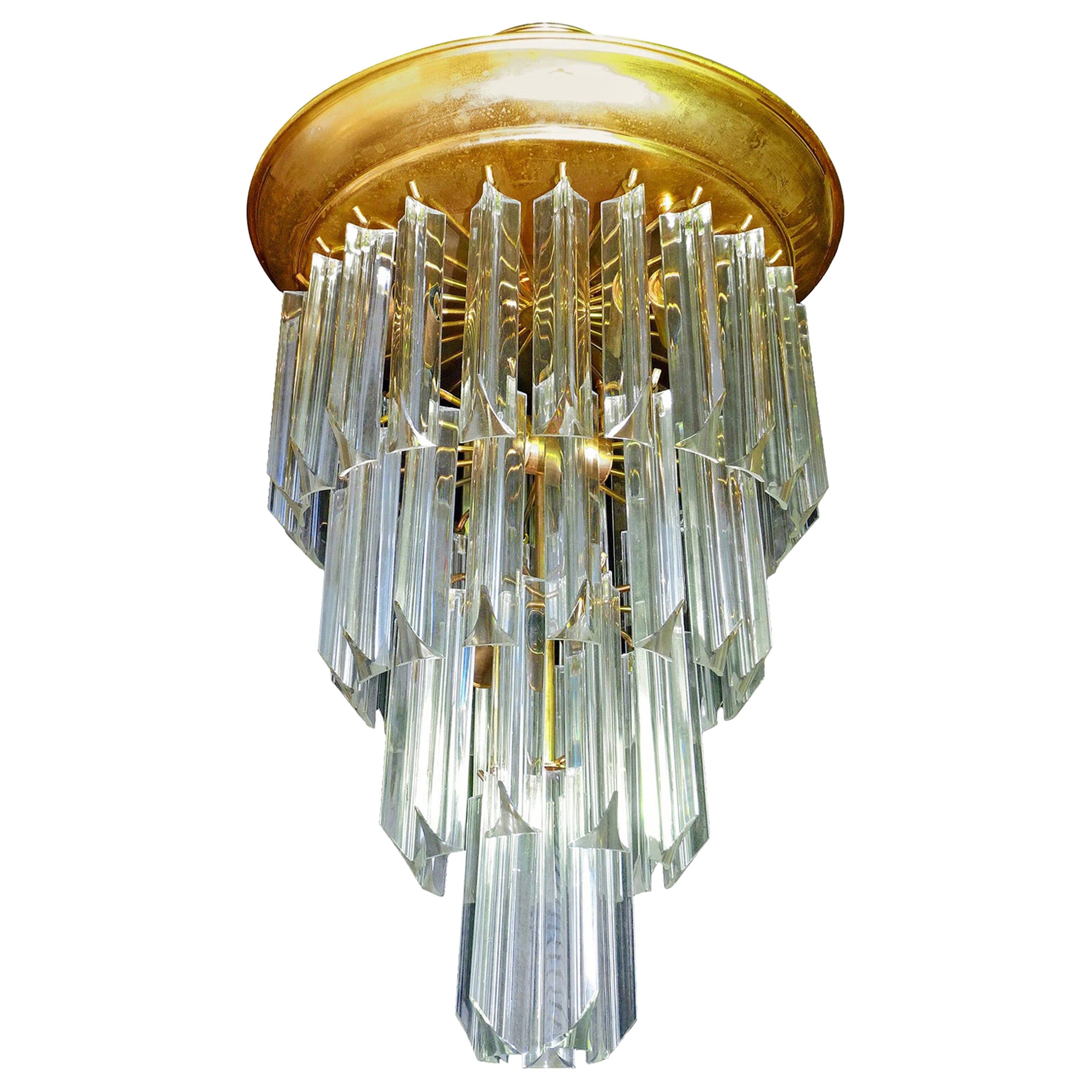 Midcentury Clear Murano Crystal Glass Prisms Gilt Brass Wedding Cake Chandelier