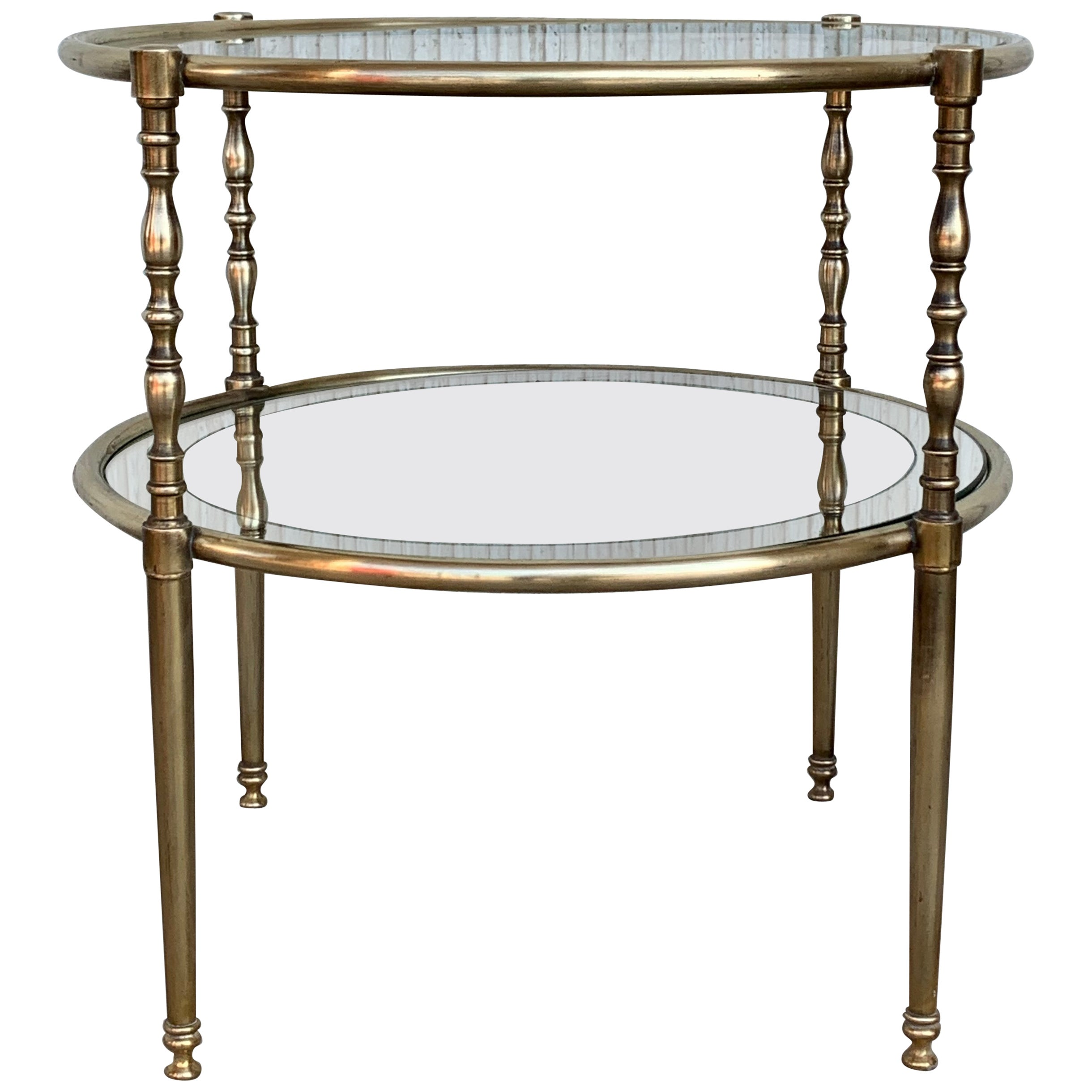 Mid-Century Modern Two-Tier Brass and Beveled Glass Side Table