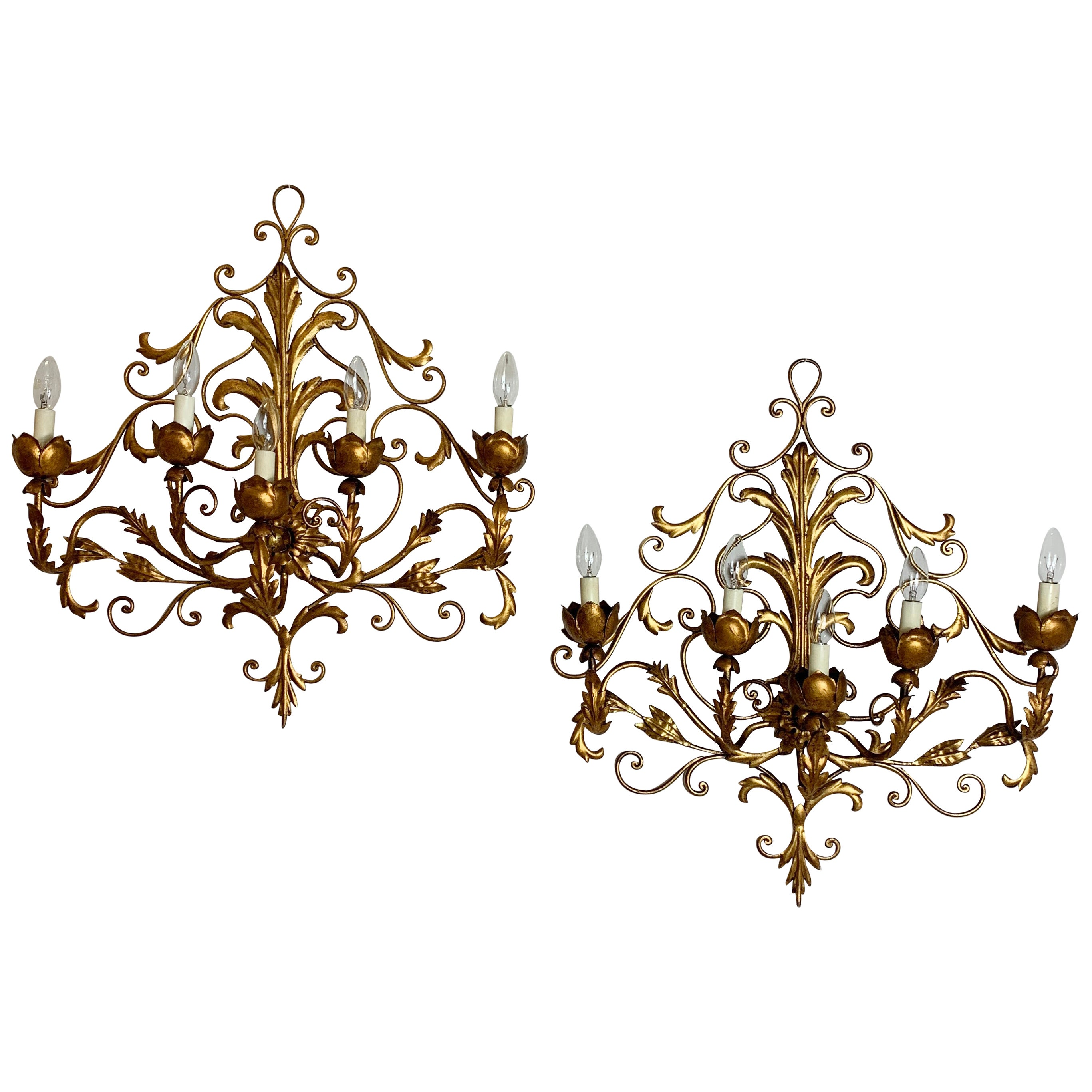 Pair of Large Palladio Wall Sconce's, Italy, 1960s