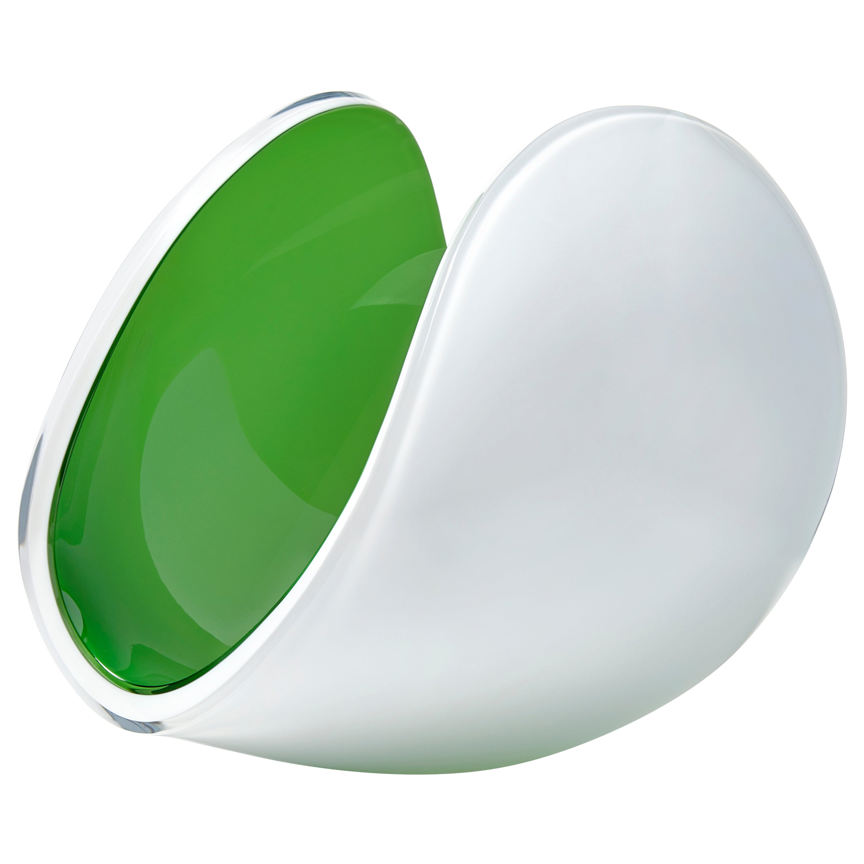 Planet in White and Apple Green, a Unique Art Glass Sculpture by Lena Bergström