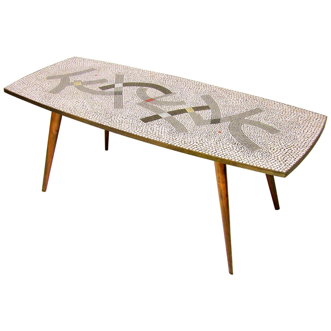 Large Modernist 1950s Mosaic Coffee Table by Berthold Muller