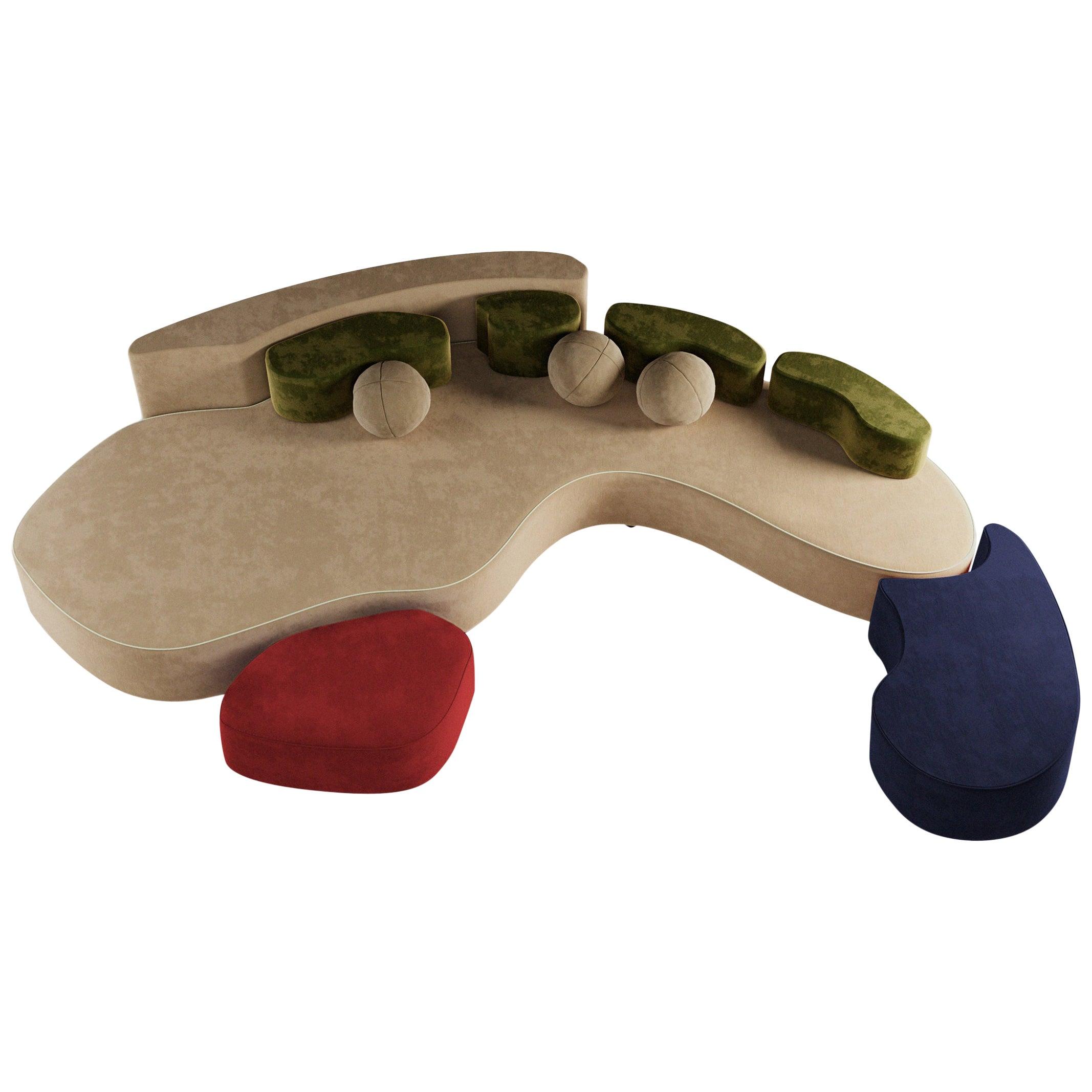 21st Century Modular Mood Sofa Cotton Velvet