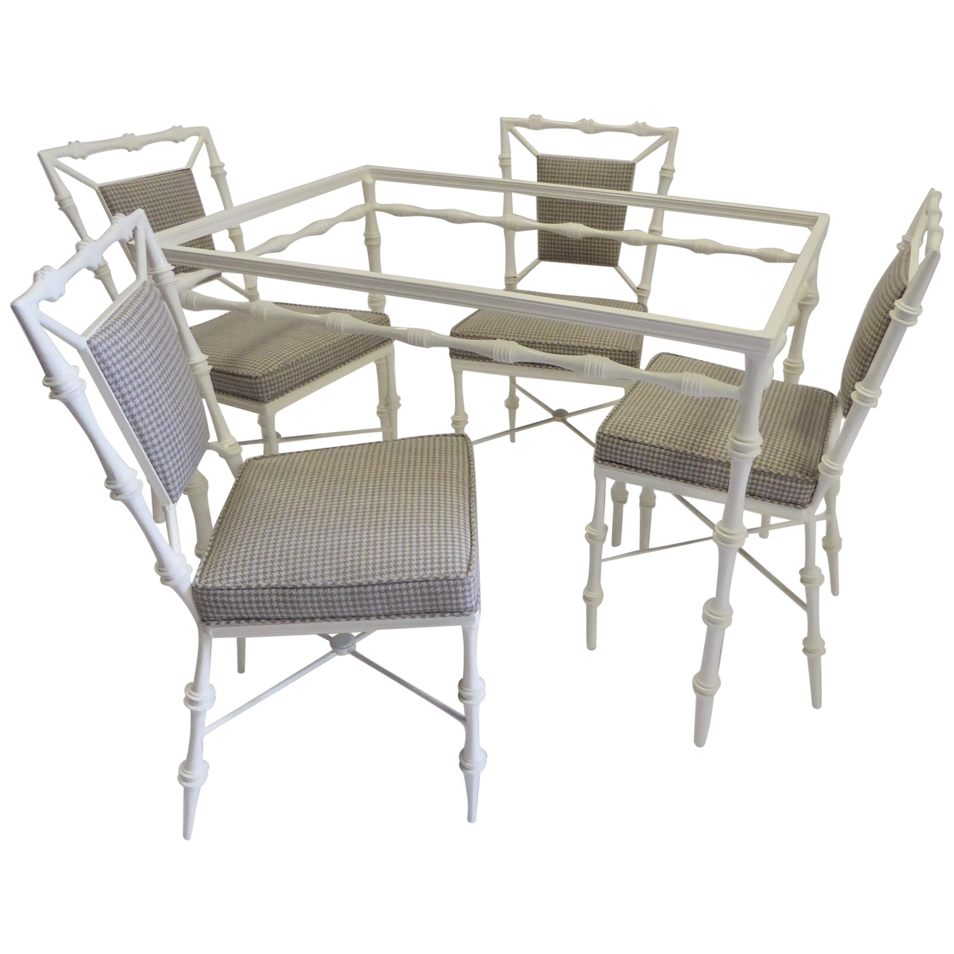 Fine Faux Bamboo Lacquered Aluminum Glass Top Dining Table and Chairs
