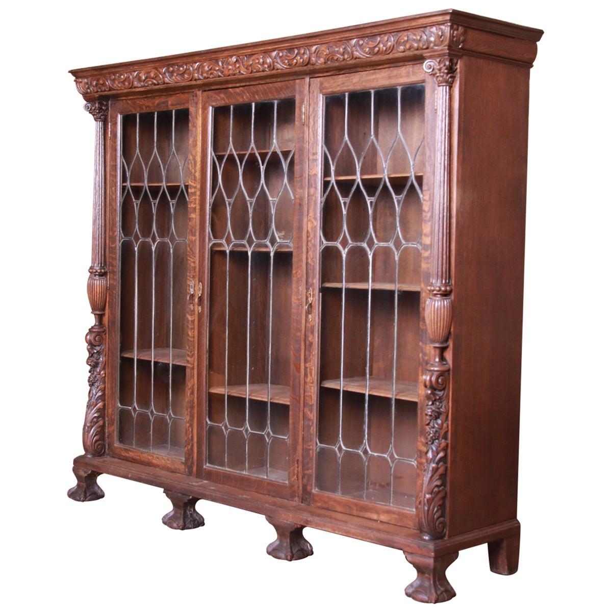 Antique Oak Leaded Glass Triple Bookcase