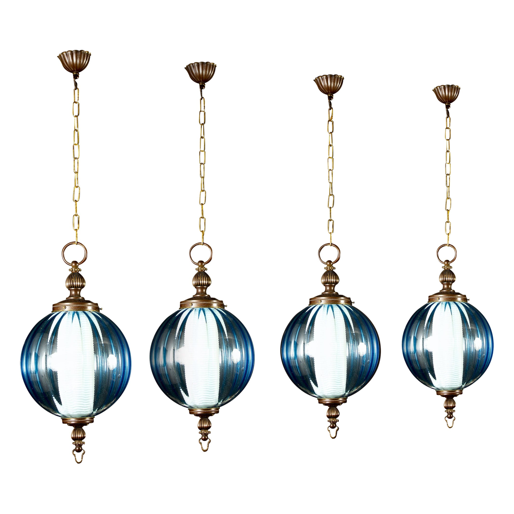 Midcentury Aquamarine Murano Glass Atmosphere Lanterns or Pendants, Italy, 1950