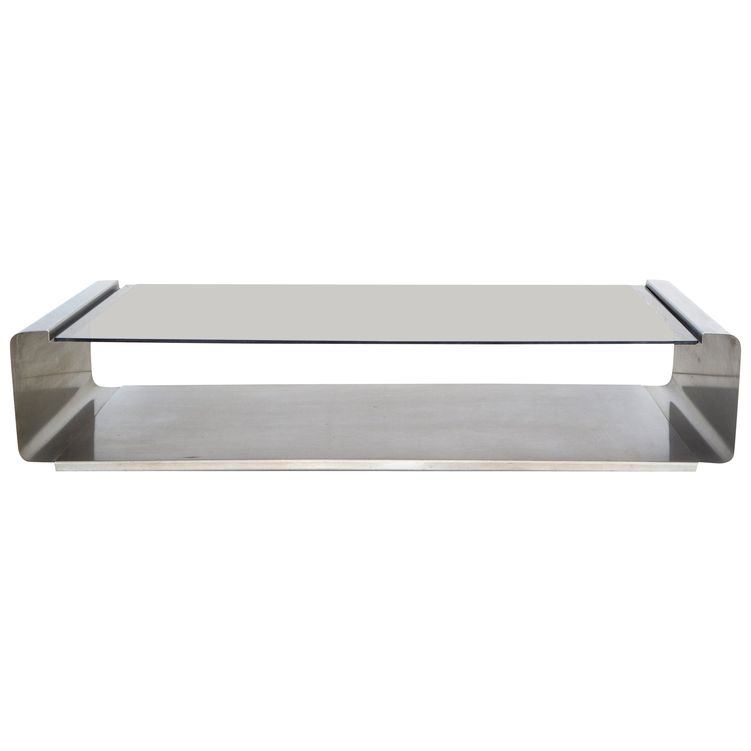 Francois Monnet Mid-Century Modern Coffee Table Smoked Glass and Brushed Steel
