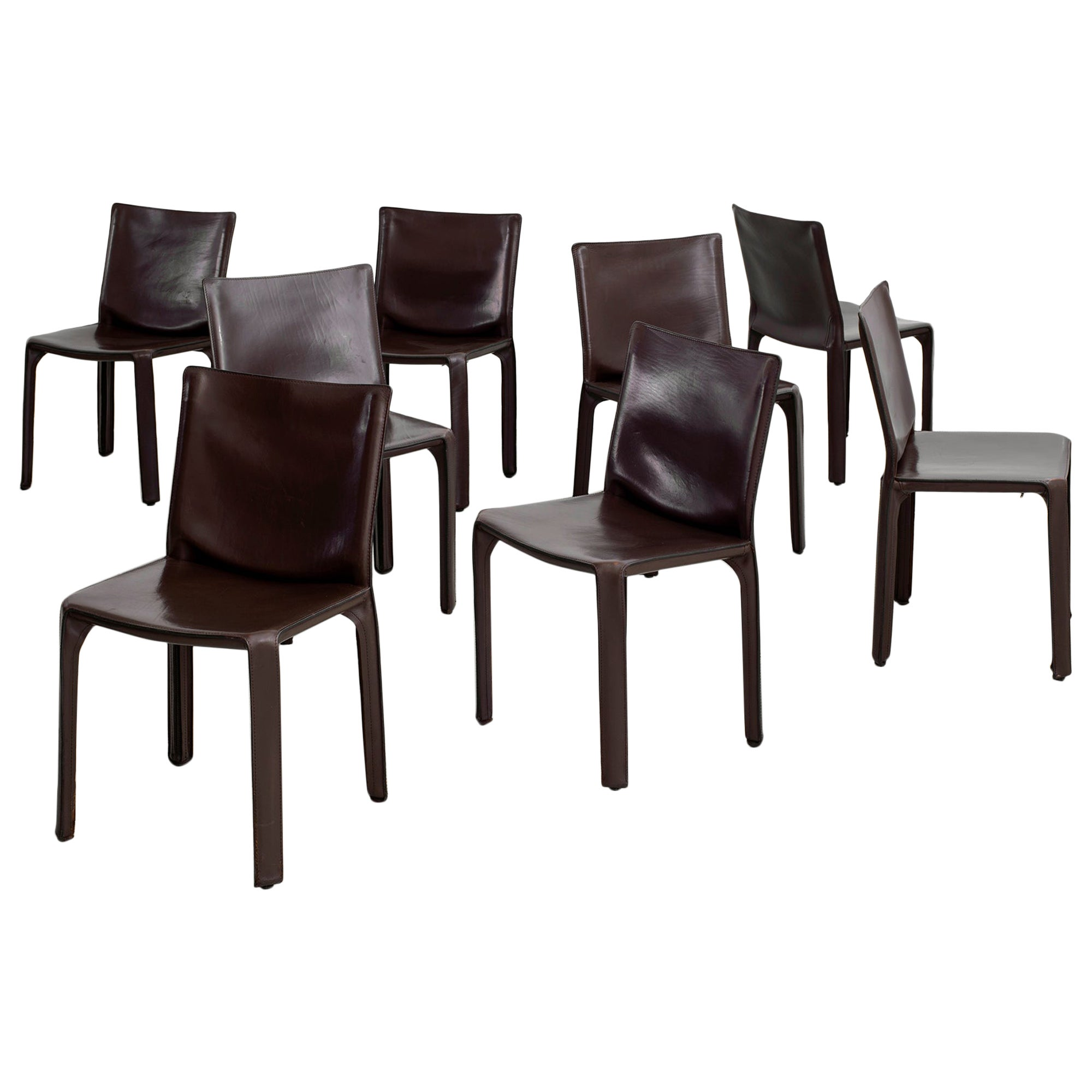 """Mario Bellini """"Cab"""" Chairs in Chocolate Leather"""