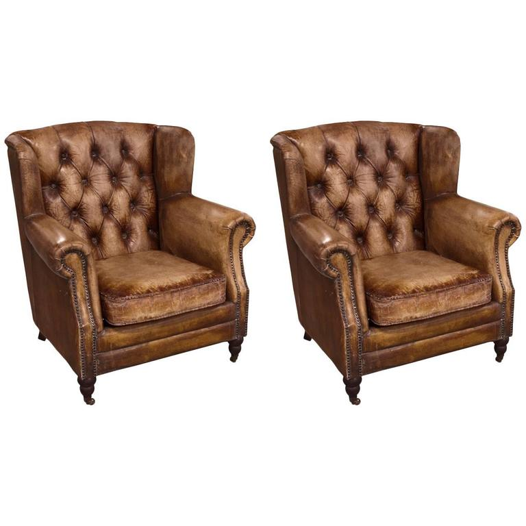 Pair of English Library Chairs with Distressed Leather For Sale
