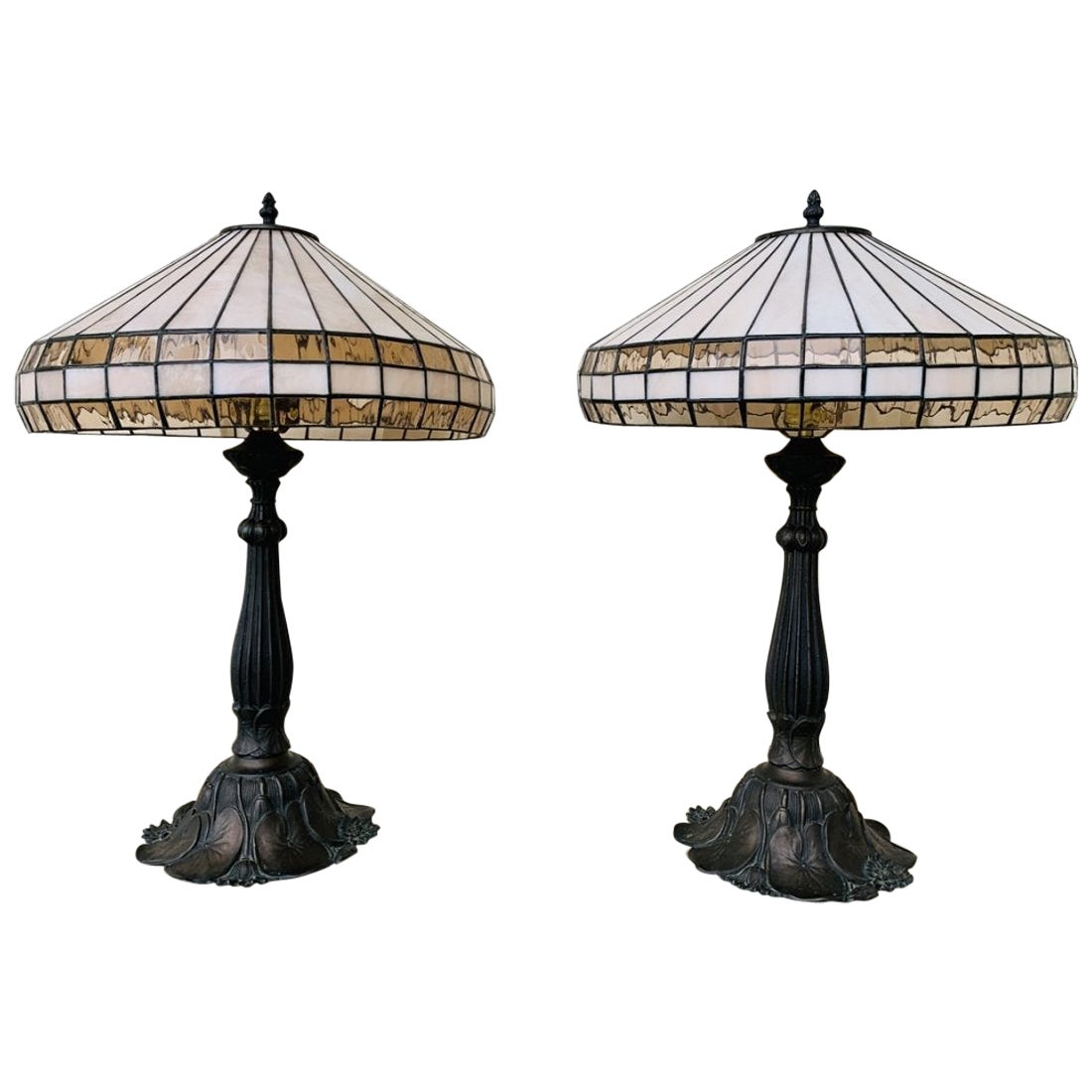 Table Lamps in Bronze and Stained Glass