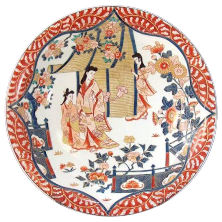 Japanese Blue Pink Red Porcelain Charger by Contemporary Master Artist