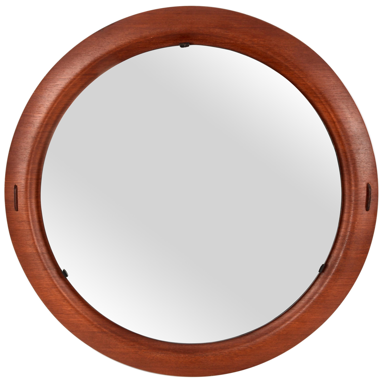 Stilcasa Creazioni Midcentury Italian Mirror with Round Teak Frame, 1960s