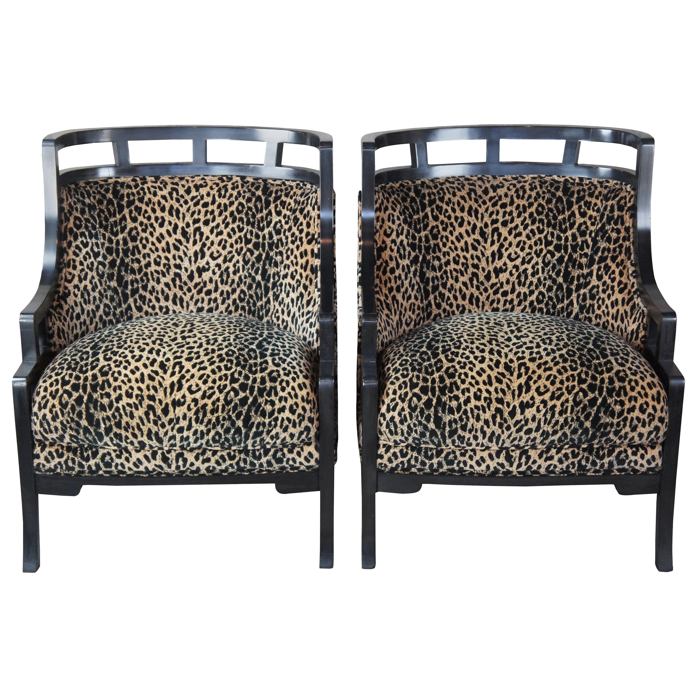 2 Wallis Simpson Cheetah Barrel Club Lounge Chairs Jay Spectre for Century MCM