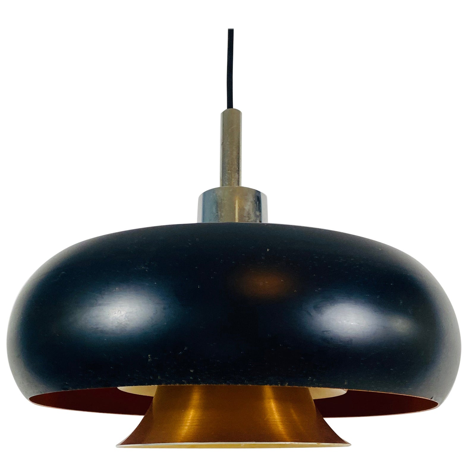 Danish Copper and Black Pendant Lamp, 1960s