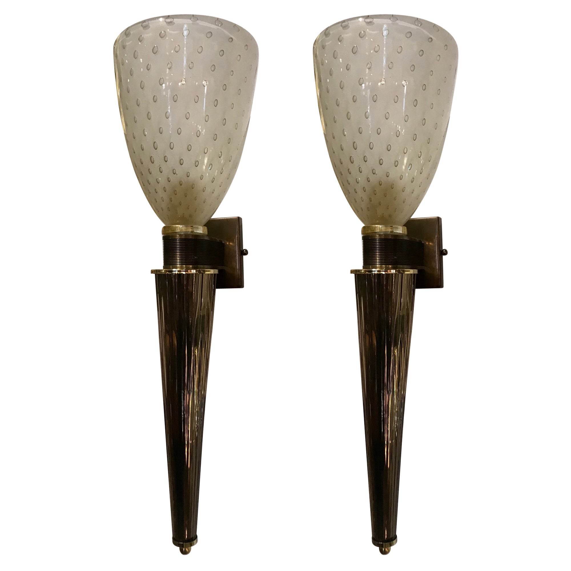 Pair of Italian Murano Glass and Brass Sconces, Barovier&Toso, Italy