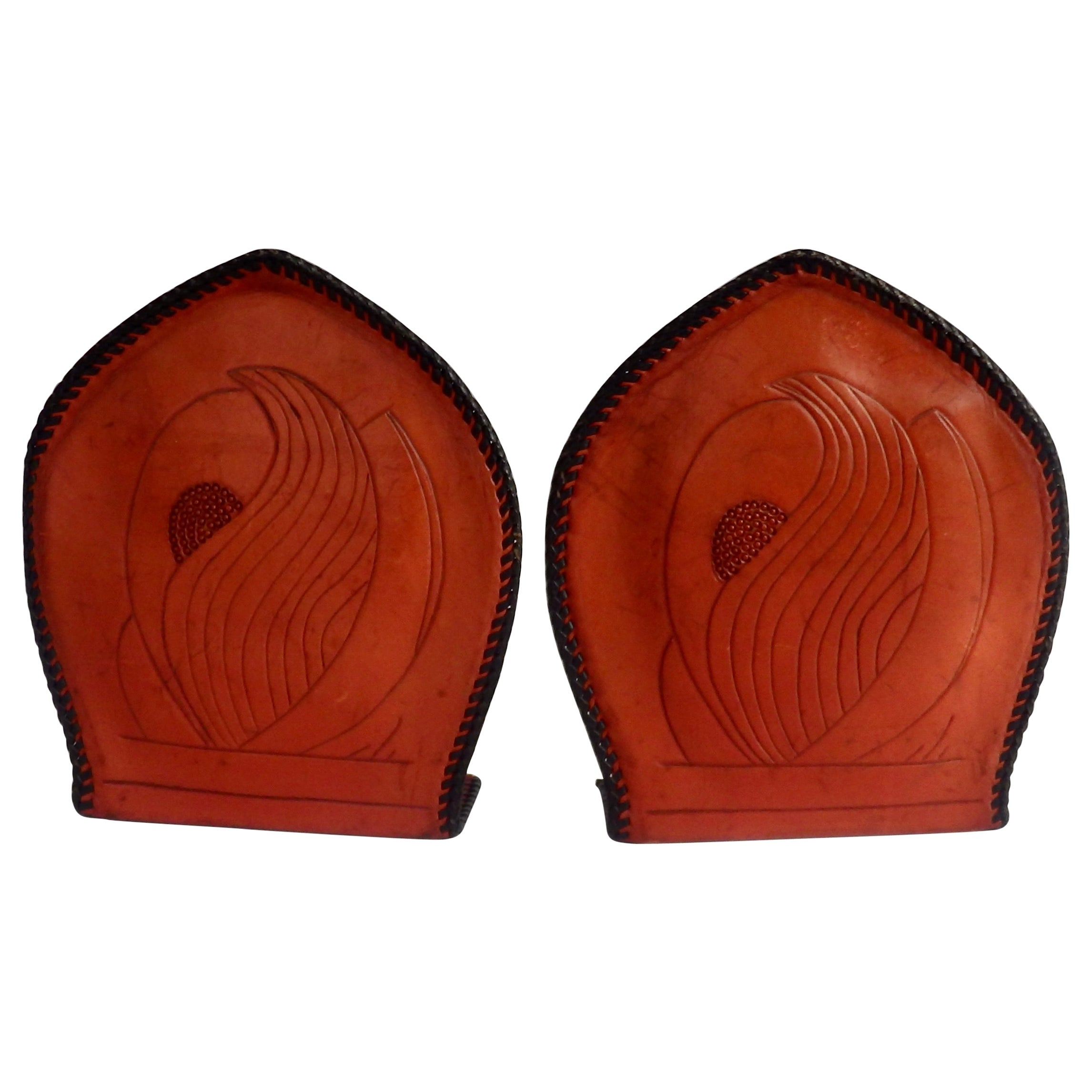 Pair of Hand Tooled Leather Book Ends with Laced Edges