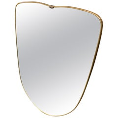 1950s Mid-Century Modern Brass Italian Wall Mirror in the Manner of Gio Ponti