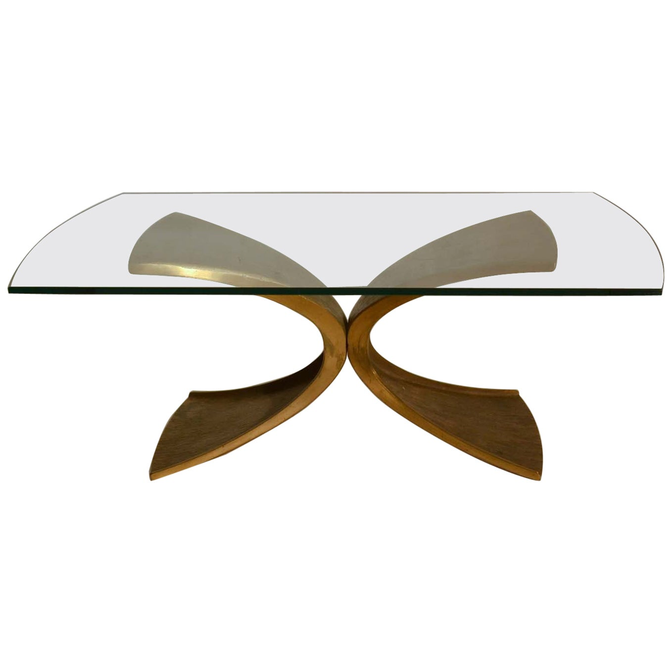Brutalist Bronze and Glass Coffee Table by Luciano Frigerio, 1980's