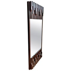 Large Vertical Midcentury Luciano Frigerio Brutalist Walnut Mirror, Italy, 1970s