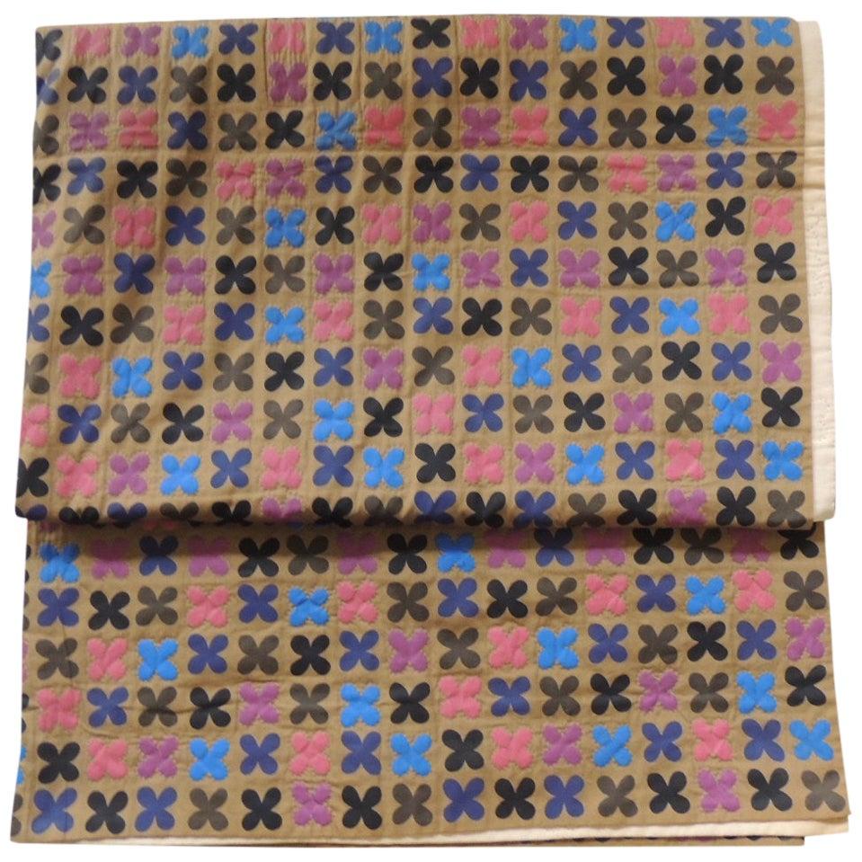 Vintage Japanese Multi-Color Quilted Blanket
