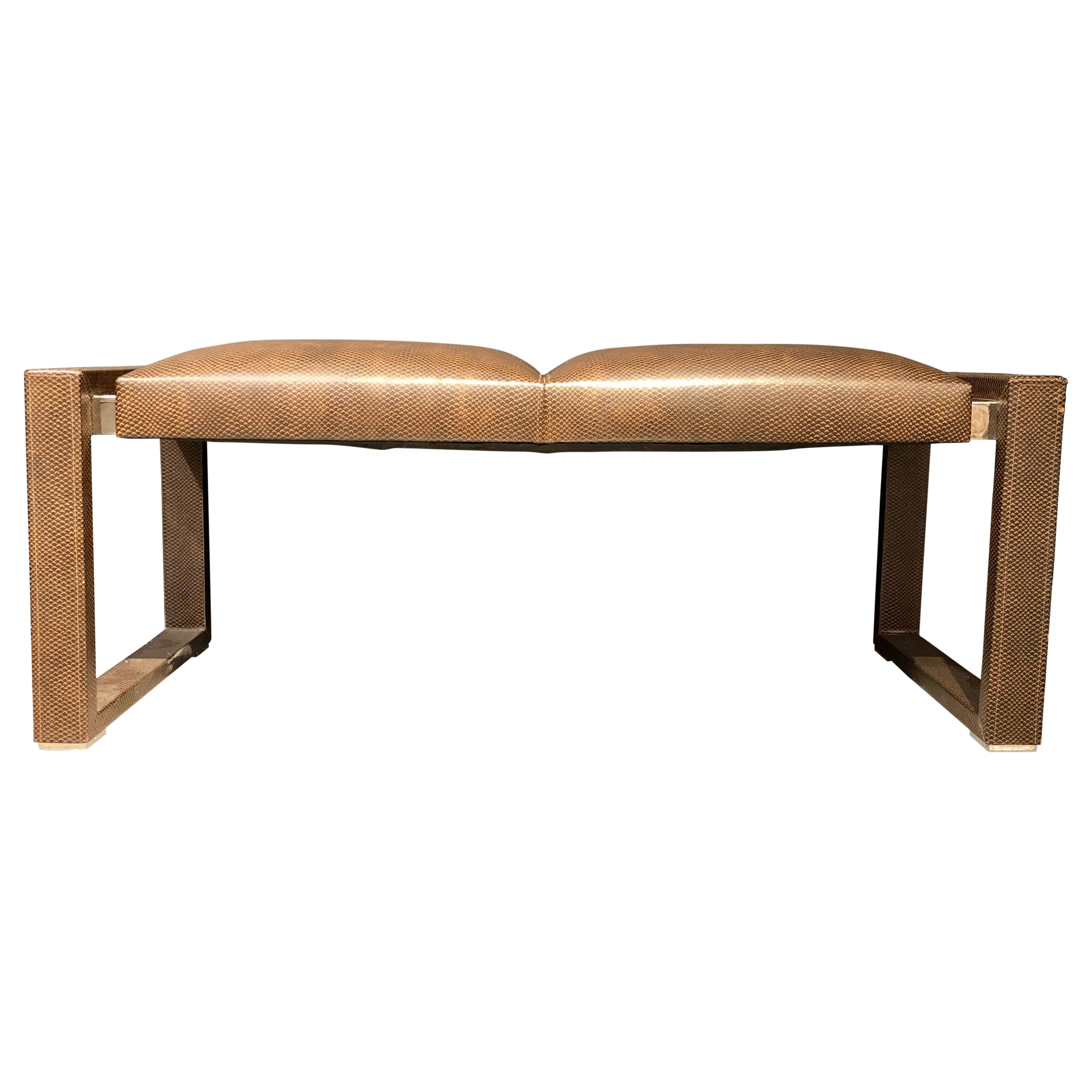 Loren Marsh Design Bench Embossed Leather and Polished Stainless Steel