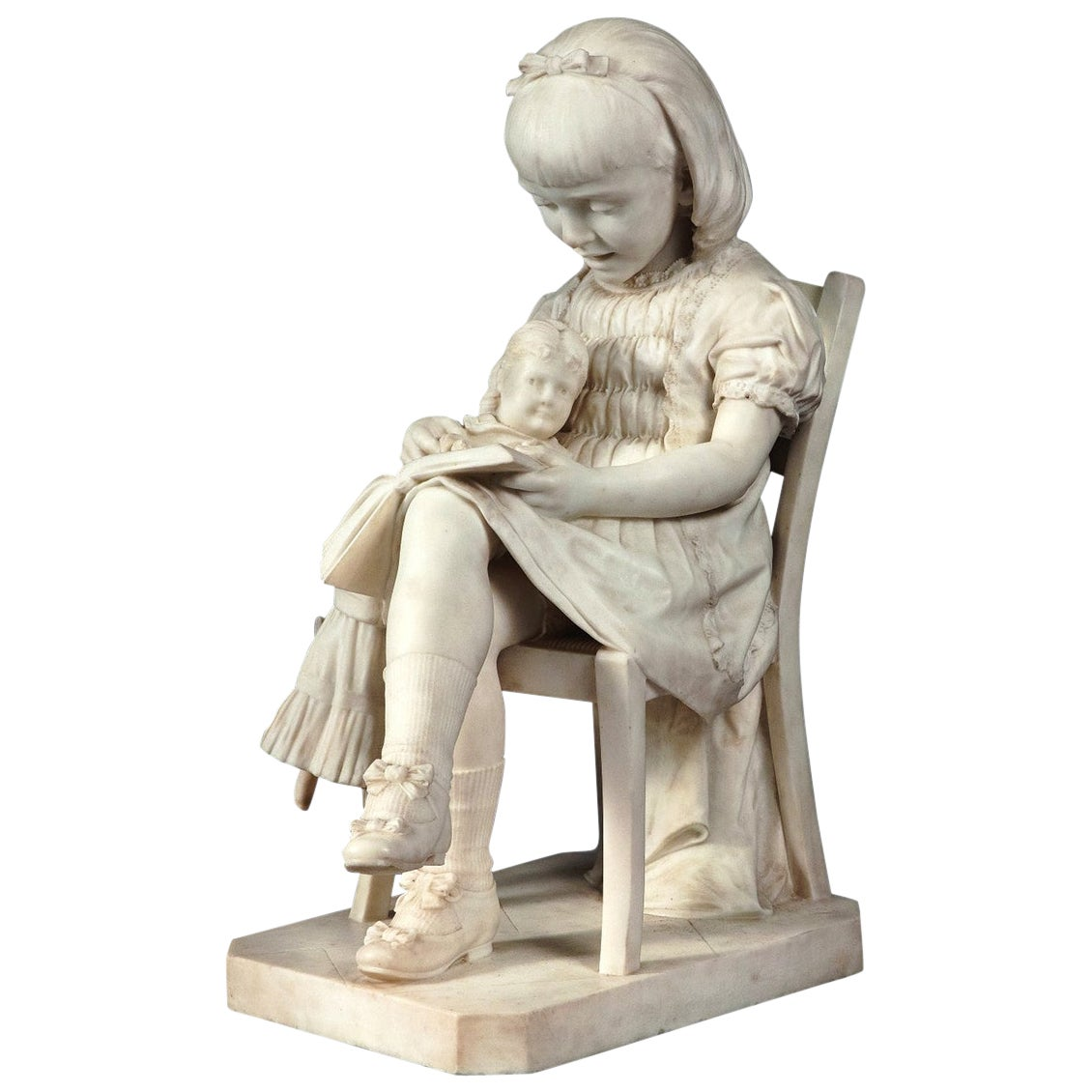 Finely Carved Italian Carrara Marble Sculpture of a Girl Reading