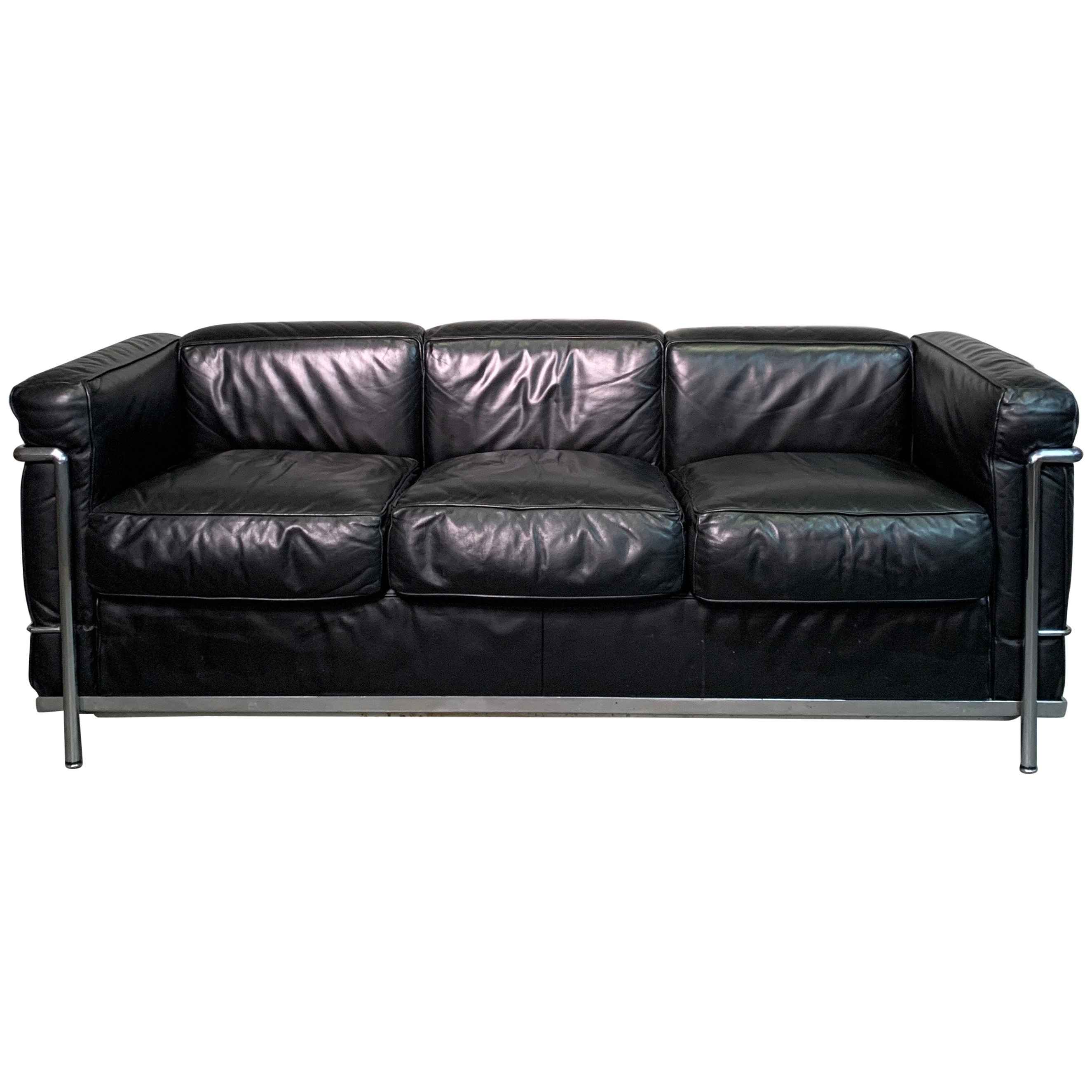 Leather and Chrome Three Seat LC2 Sofa by Le Corbusier for Cassina