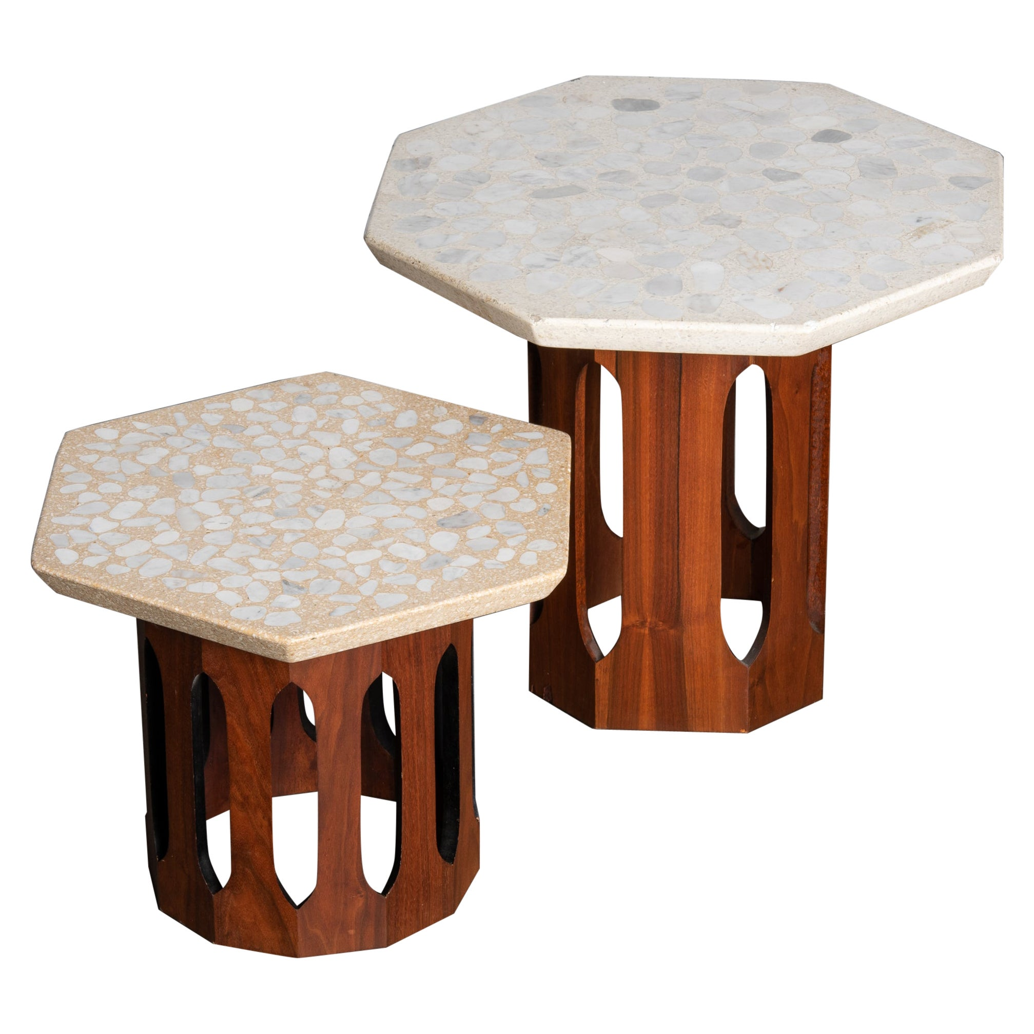 Terrazzo and Walnut Mid-Century Modern Harvey Probber Style Side Tables, c. 1960