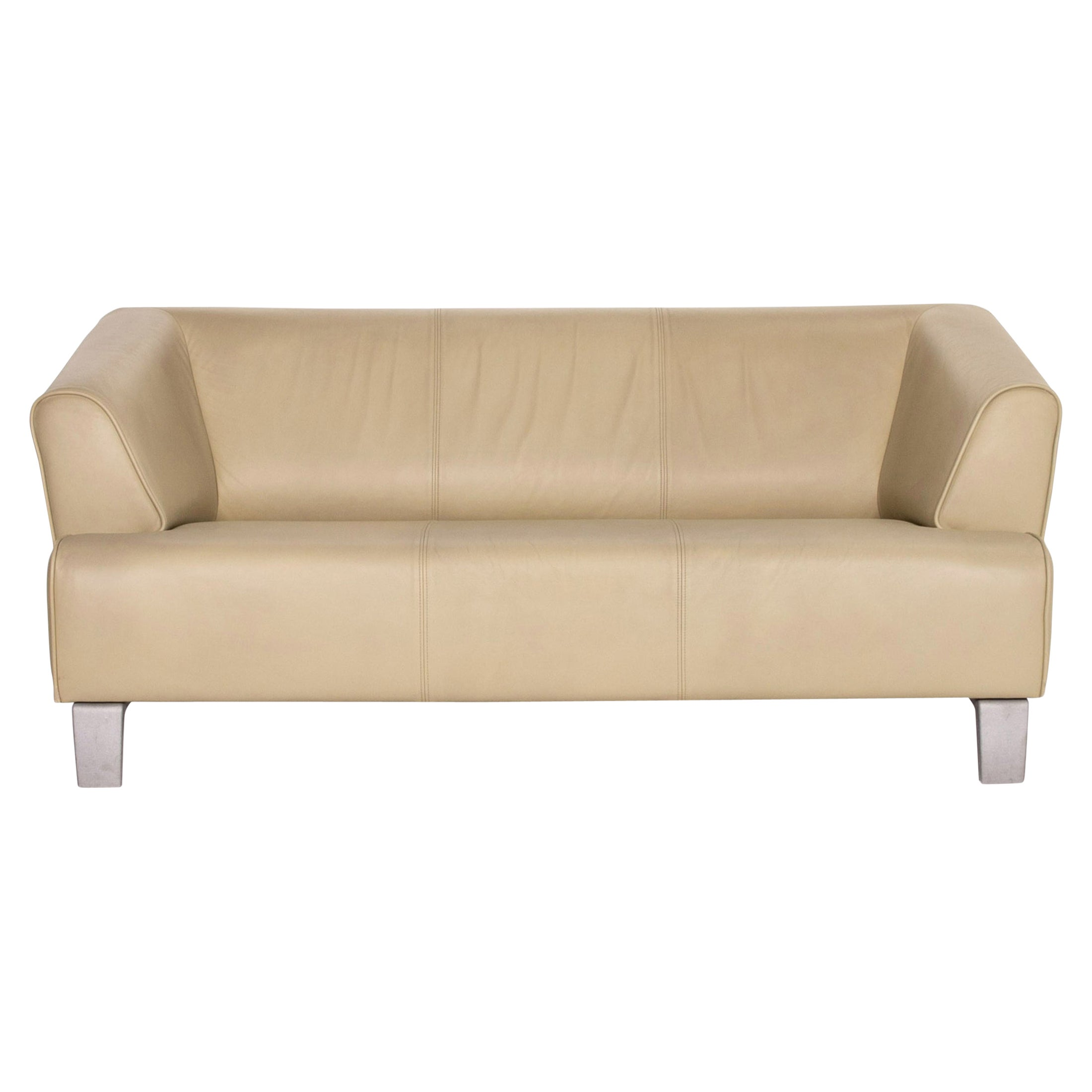 Rolf Benz Leather Sofa Green Lime Green Two-Seater Couch