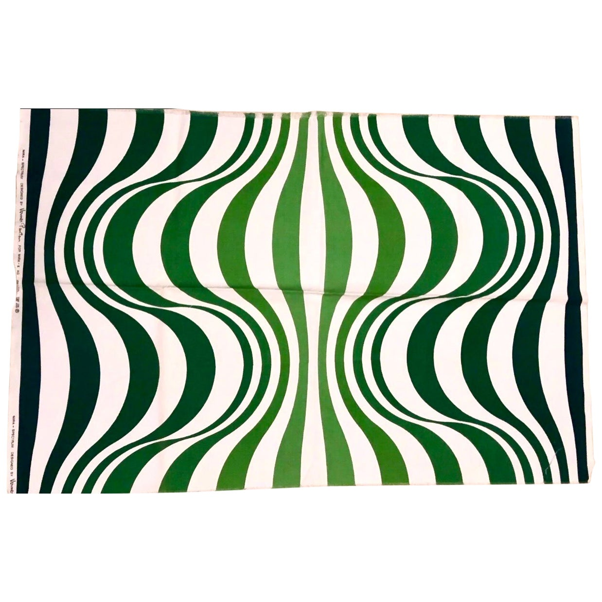 Verner Panton Green Spectrum for Mira X Handprinted Textile Panel, Rare, 1960s