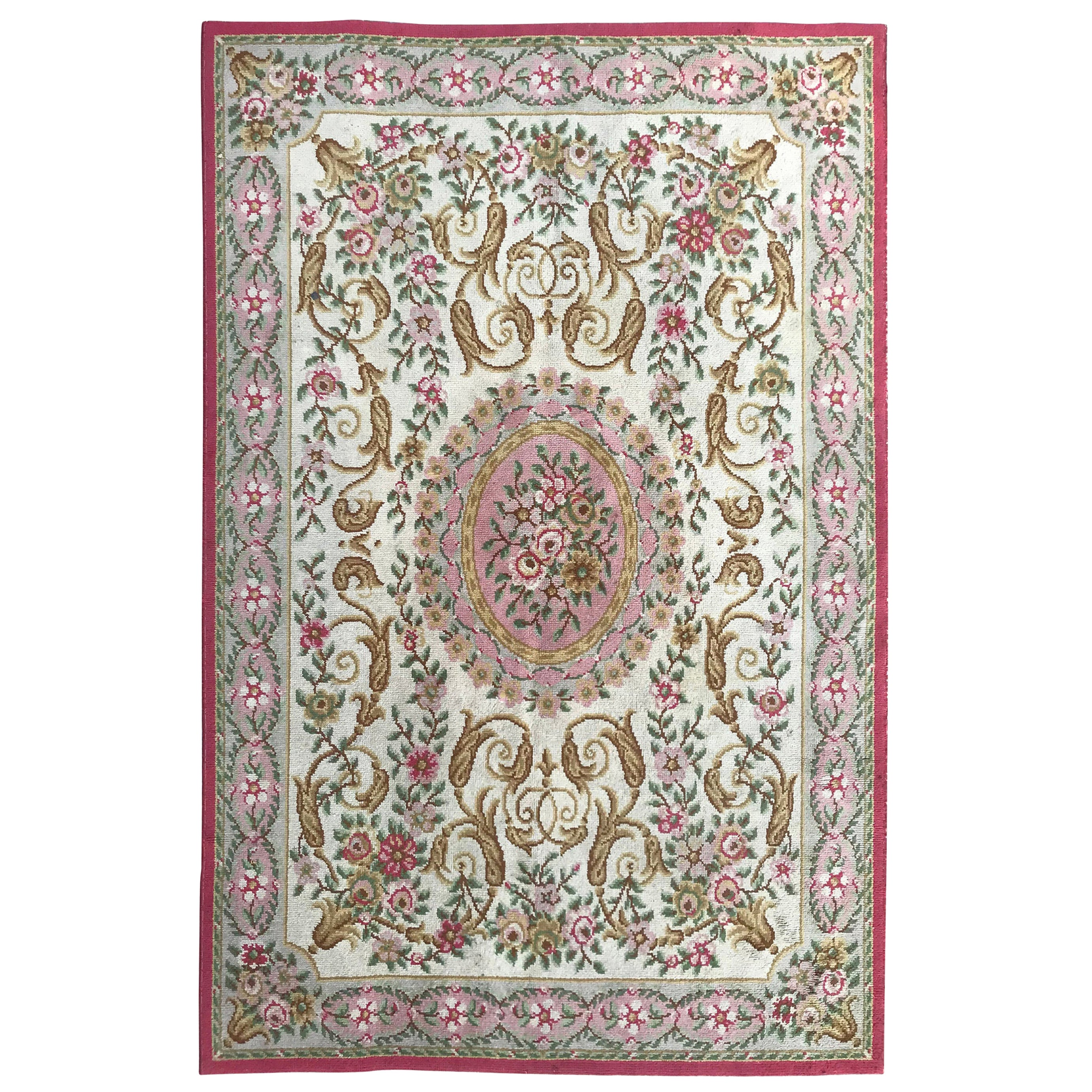 Nice Antique Knotted Aubusson Rug