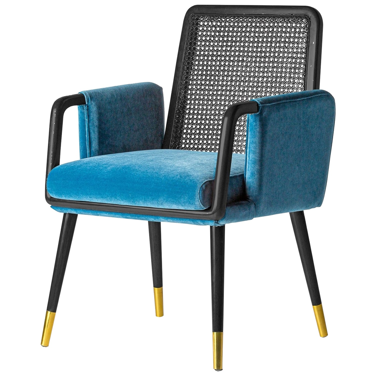 MCM Style Black Lacquer Walnut and Black Lacquer Cane with Blue Velvet Chair