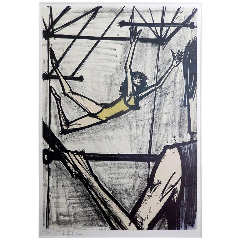 "Bernard Buffet, ""Les Trapezistes"" Color Lithograph, 1968 For Sale"