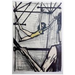 """Bernard Buffet, """"Les Trapezistes"""" Color Lithograph, 1968"""