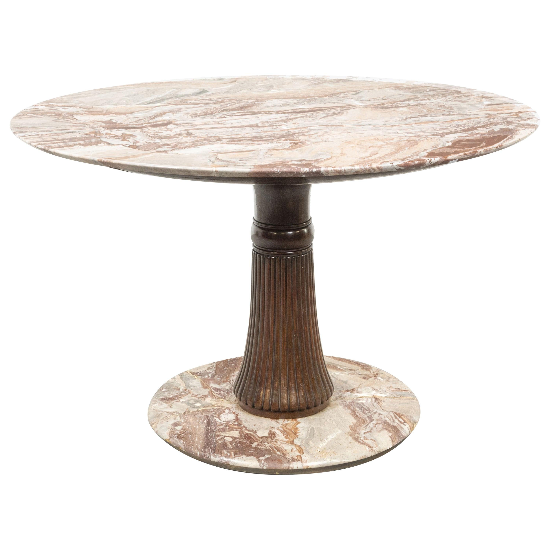 Osvaldo Borsani Midcentury Style Round Table in Wood and Marble Macchiavecchia