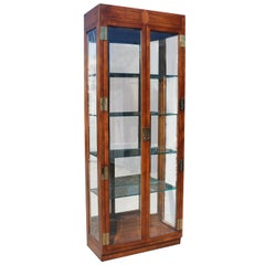 Henredon Scene One Curio Cabinet with Walnut and Brass