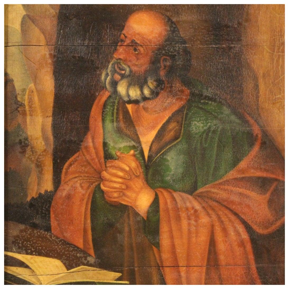 20th Century Oil on Panel Italian Religious Painting Saint Jerome, 1960