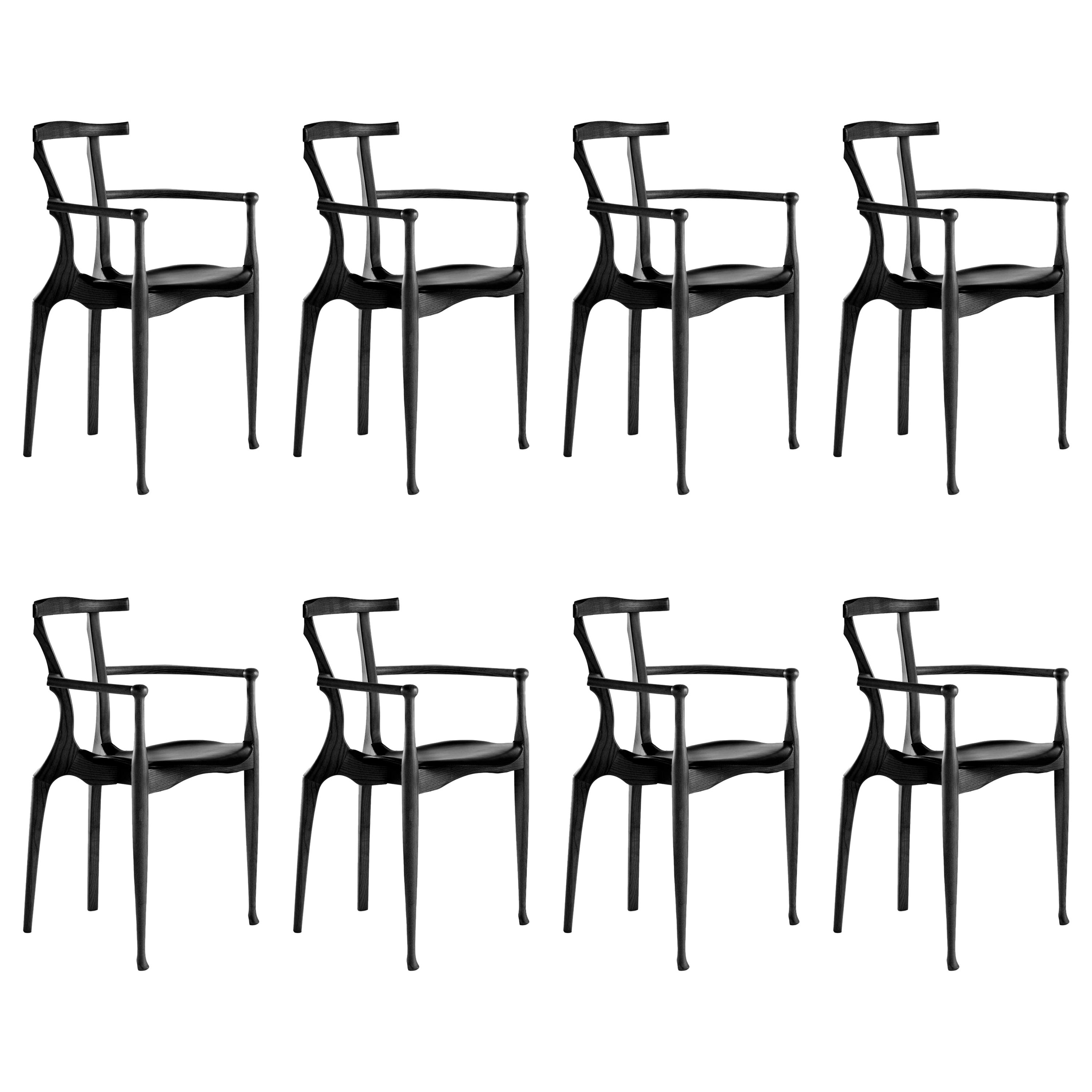 Set of 8 Black Gaulino Chairs Chair by Oscar Tusquets