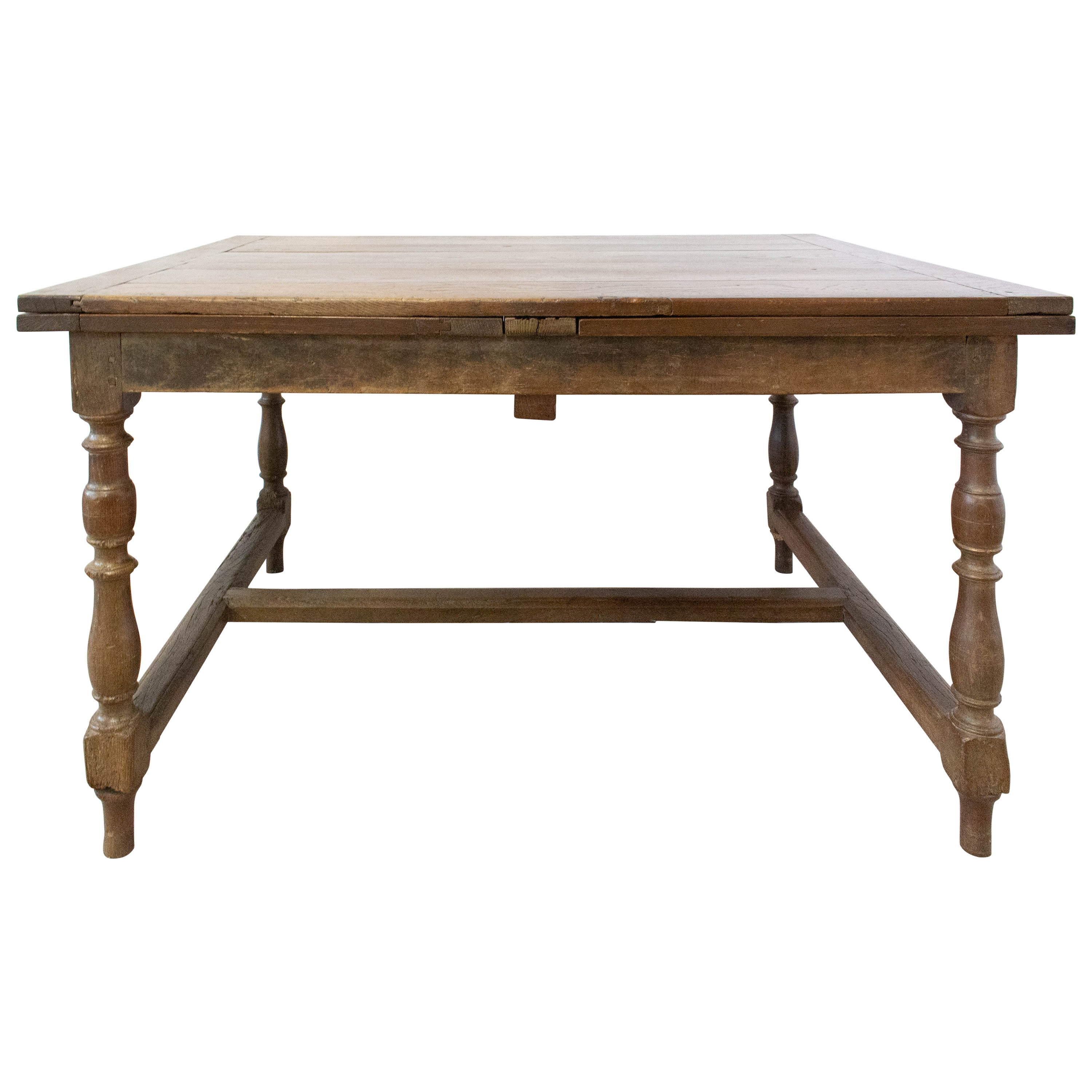 French Extending Dining Table Carved Oak, 19th Century