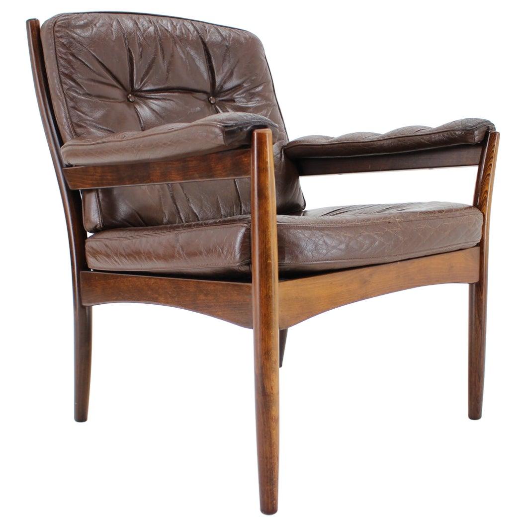 Midcentury Scandinavian Leather Armchair, 1960 / Sweden / G-Mobler