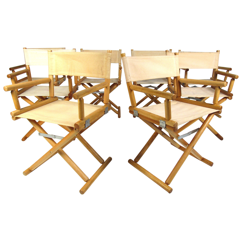 Set of 8 Midcentury Hard Wood Folding Chairs