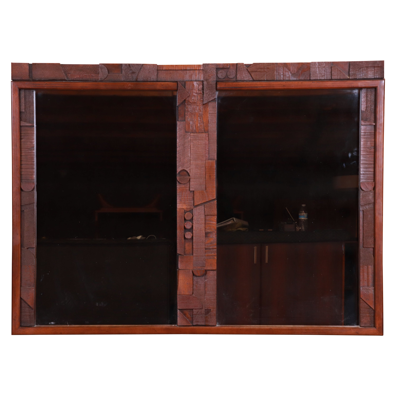 Paul Evans Style Lane Pueblo Brutalist Oak Framed Double Mirror, 1970s