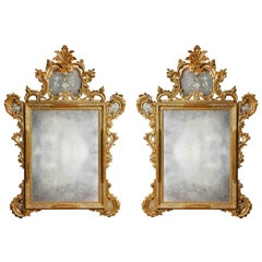 Pair of 19th Century Italian Venetian Hand-Etched Carved Giltwood Mirrors