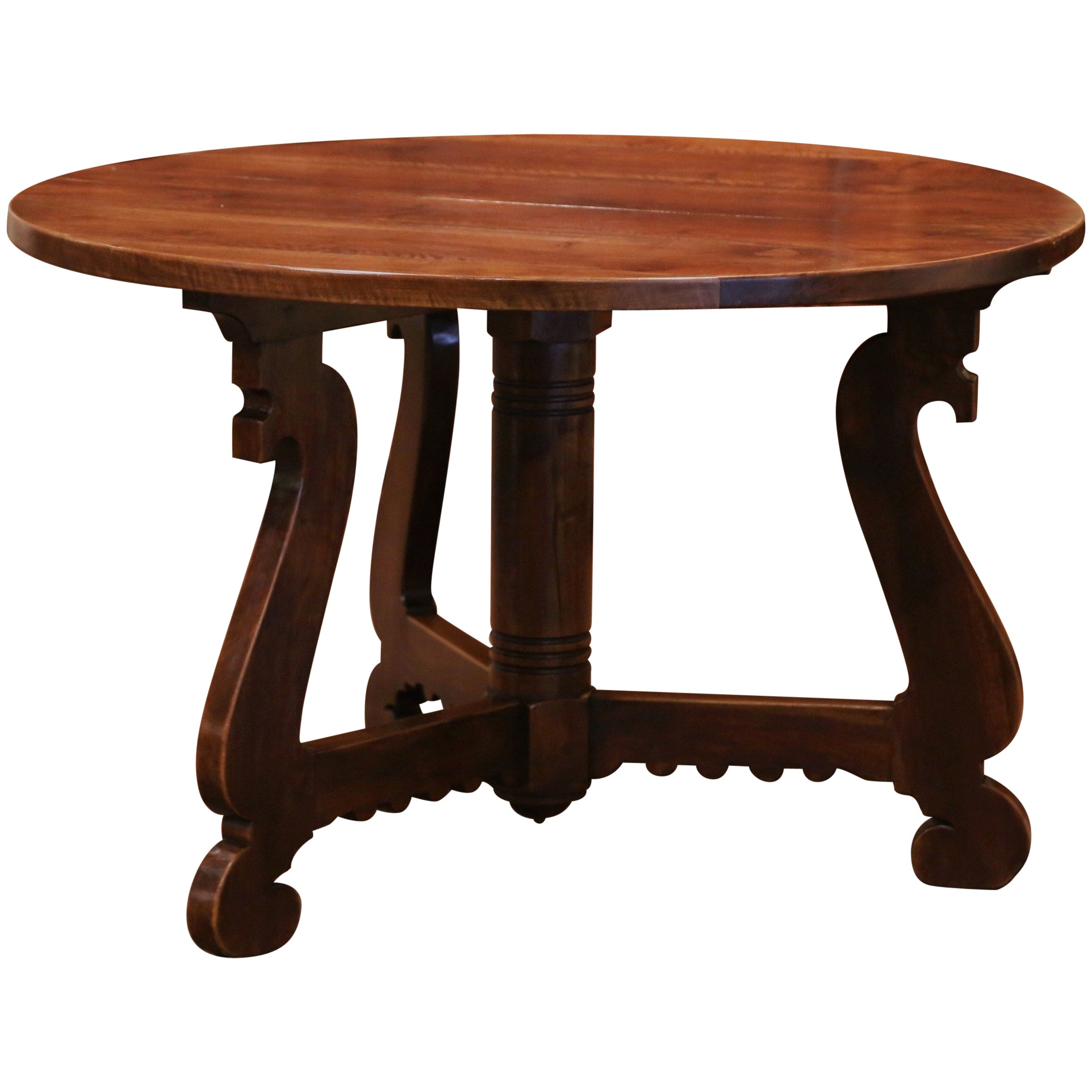 Mid-Century French Catalan Carved Walnut Round Breakfast or Center Table