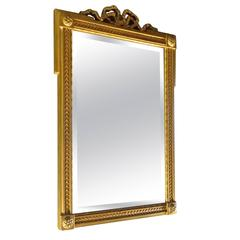 French Mid-Century Small Gold Painted Frame With Beveled Mirror Glass.