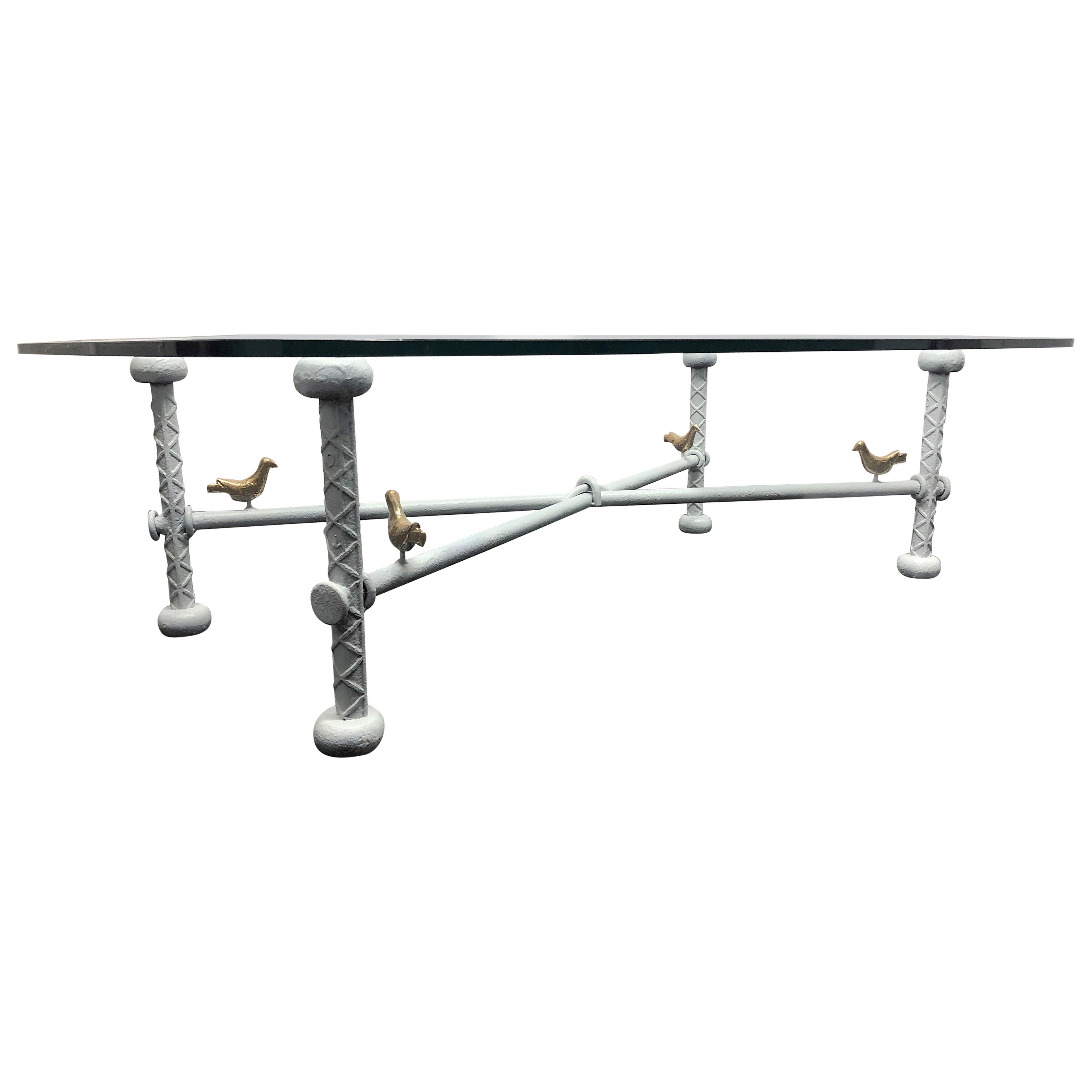 Iron and Glass Brutalist Coffee Table Style of Ilana Goor