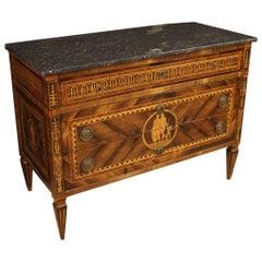 18th Century Inlaid Wood with Marble Top Italian Louis XVI Dresser, 1780