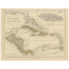 Antique Map of the West Indies and Central America by Lowry '1852'