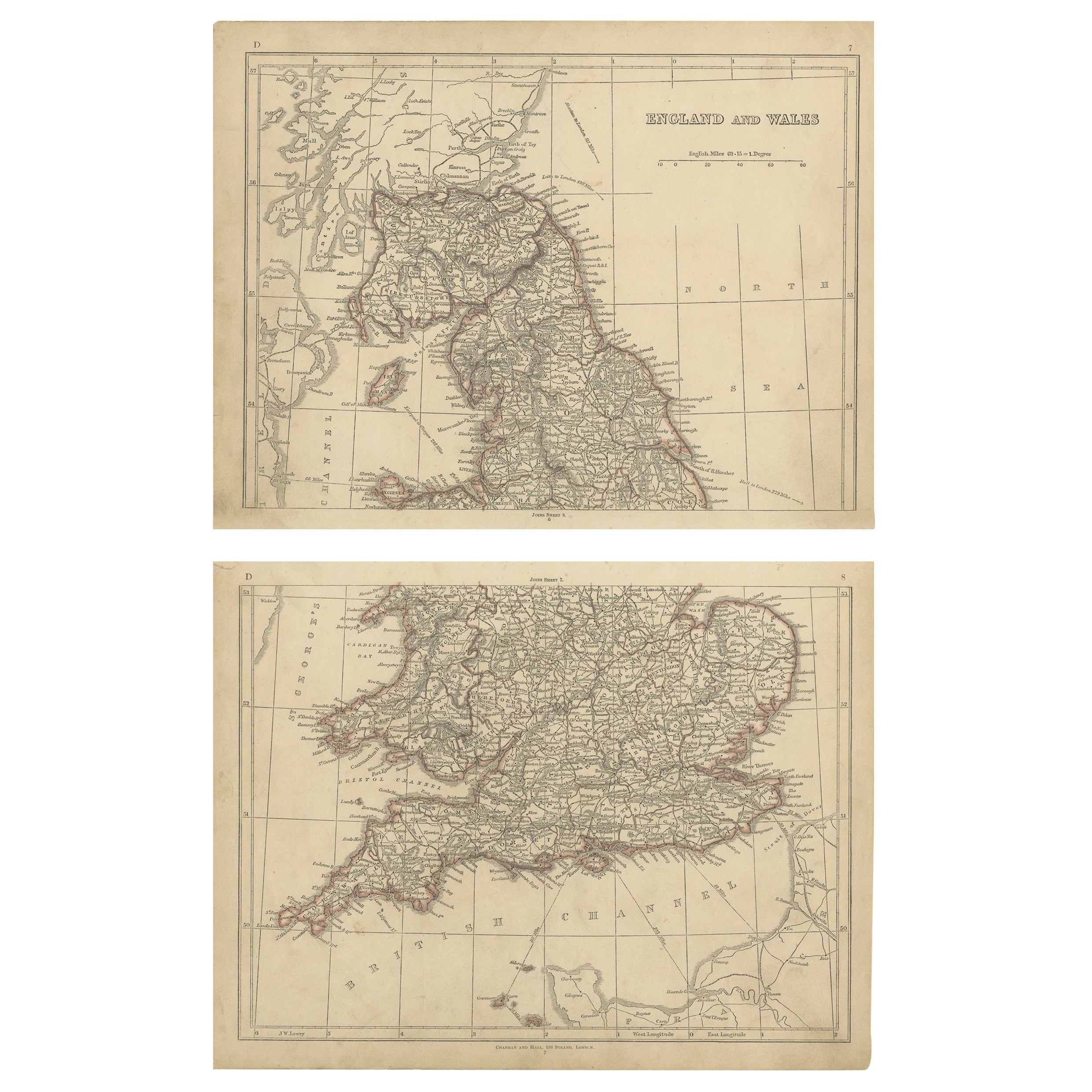 Antique Map of England and Wales by Lowry, '1852'