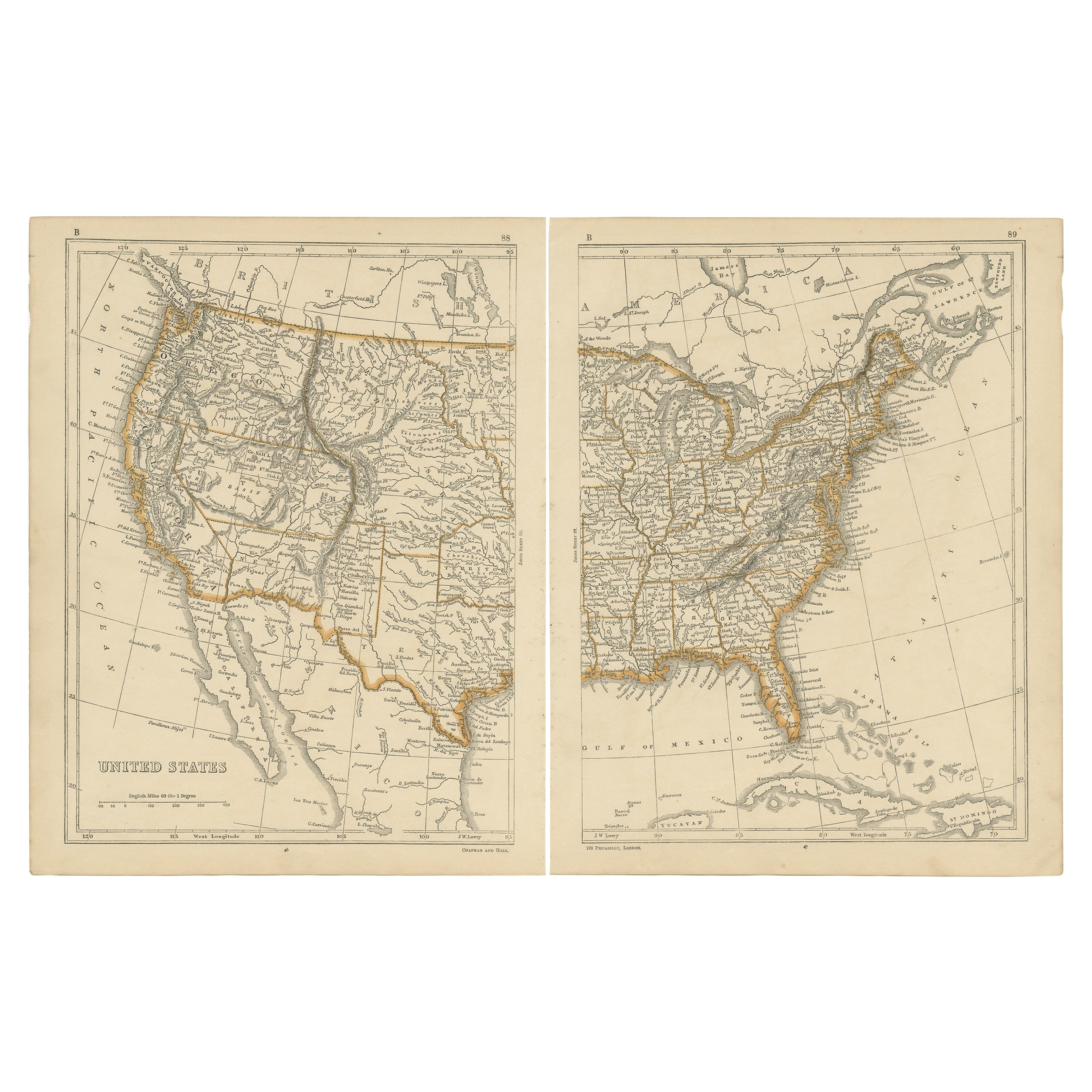 Antique Map of the United States by Lowry, 1852