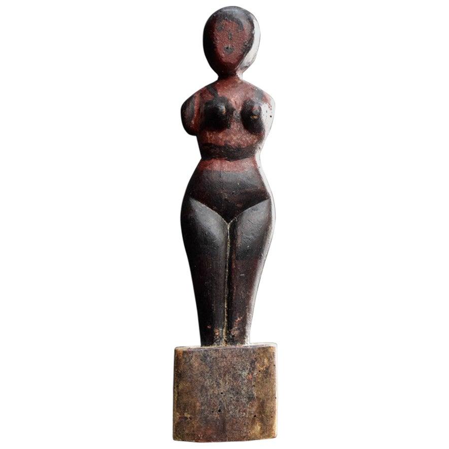 Hand Carved Folk Art Figure of a Naked Lady